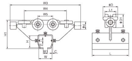 导轮滑车结构尺寸图